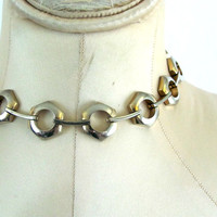 Vintage 80s silver chain choker necklace