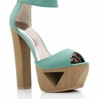 Qupid Lakie-02 Cutout Platform Heels - Sea Green