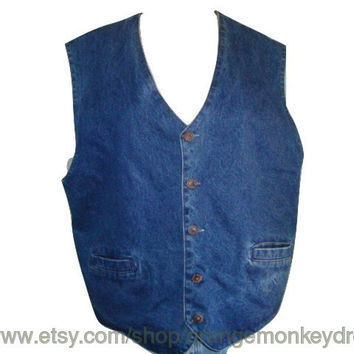 vintage REVERSIBLE 90'S Denim TO Plaid FABRIC jean vest hipster indie boho large xl  women men