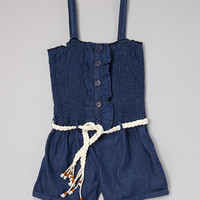Blue Shirred Belted Denim Romper - Girls | zulily