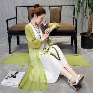 DCCKIHN New Summer cotton Linen dress Two Pieces Set women Mid-Long Style Chinese monochromes dress casual women clothing SS495