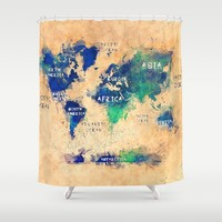 world map oceans and continents 4 Shower Curtain by jbjart