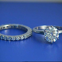 2.02ct G-SI2 Round Diamond Enagement Ring & Wedding Eternity Set JEWELFORME BLUE 900,000 GIA EGL Certified diamonds