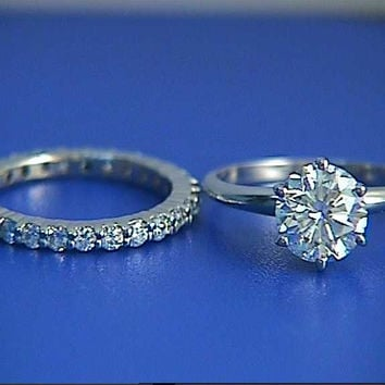 2.02ct F-SI2 Round Diamond Enagement Ring & Wedding Eternity Set JEWELFORME BLUE 900,000 GIA EGL Certified diamonds