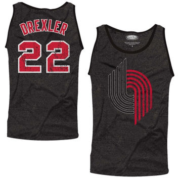 Clyde Drexler Portland Trail Blazers Majestic Threads Hardwood Classics Name and Number Tank Top – Black