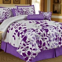 Bednlinens 7 Piece Queen Fresca Purple Leaves Bedding Comforter Set