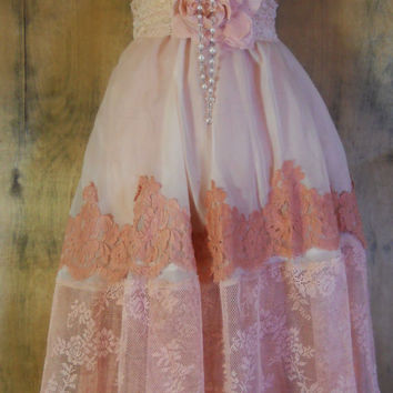 Nude lace dress edwardian style cotton chiffon fairytale rose  vintage   romantic medium   by vintage opulence on Etsy