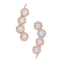 0.92ct 14k Rose Gold Diamond Ear Crawler Earring