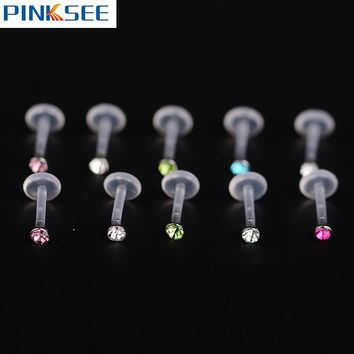 25PCS/Lot Zircon monroe Labret Lip Bar Ring Plastic Ear Cartilage Tragus Sexy Girls Piercing Body Jewelry Anti-allergic