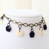 Tagua Nut Jewelry, Purple Flower Charm Anklet, Natural Tagua