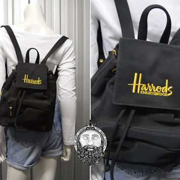 Vintage 90s Mini Backpack HARRODS Black School Bag Womens Rucksack Grunge Bag Back Pack British Designer Ruck Sack Small Purse 1990s bag