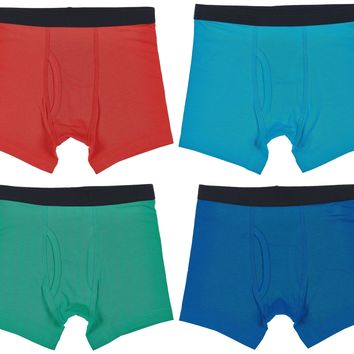 Trimfit Boys Cotton/Spandex Boxer Briefs (Pack Of 4), Multicoloured Basics