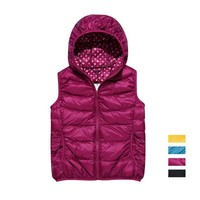 ZLYC Lightweight Down Padded Gilet Jacket with Hood and Polka Dot Lining for Women