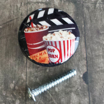 Handmade Knobs Drawer Pulls, Movies, Cinema Cabinet Pull Handles, Soda and Popcorn Dresser Knob Pulls, Theater Room Decor
