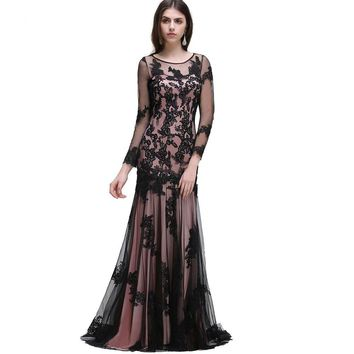Long Sleeve Mother of the bride dresses Mermaid Black Lace Pink Evening Dresses Evening Prom Gown
