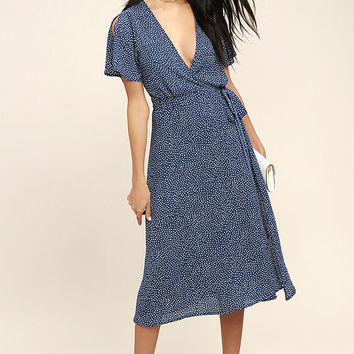 Gimme Your Love Navy Blue Polka Dot Wrap Dress