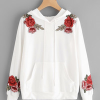 White Hoodie with Embroidered Rose Patchwork