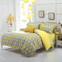new arrival quality polyester pear yellow queen twin full bedding bed sheet set bedclothes duvet cover set bedding set