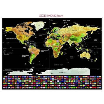 H3M 1PC Home Deluxe Scratch Edition World Map Travel Black Decoration Home Living Modern Style Fashion Accessories Wall Sticker
