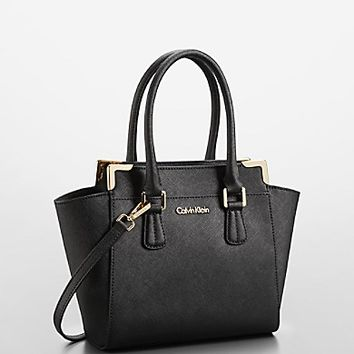 saffiano leather small winged tote bag | Calvin Klein