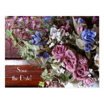 Save the Date 75th Anniversary Vintage Flowers Postcard