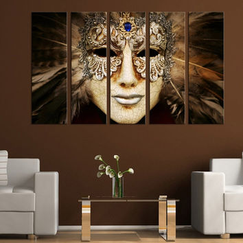 Venice Mask Canvas Prints 5 Panel For Home Decorations, Prints On Canvas, Wall  Canvas, Brown Mask Canvas, Living room canvas
