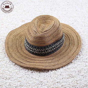 Rodeo Cowboy Brown Straw Hat Studded Leather Bull Band