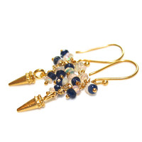 Gold Spike Earrings Sapphire Earrings Opal Earrings Modern Earrings Everyday Jewelry Fall Style Spike Jewelry Fall Fashion FizzCandy