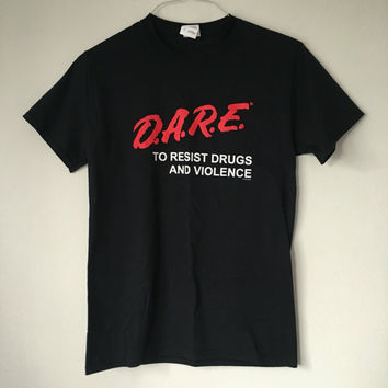 Vintage 90s D.A.R.E., Dare, To Resist Drugs and Violence, Black TShirt - SMALL