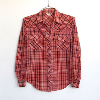 Women's Vintage 1970 - 80s Licorice / Red, White and Blue Plaid Button-down Western Shirt w/ Pearl Snaps