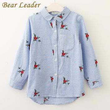Girls Shirts New Baby Girls Blouse Red Flowers Embroidery Strip Kids Shirts Children Clothing