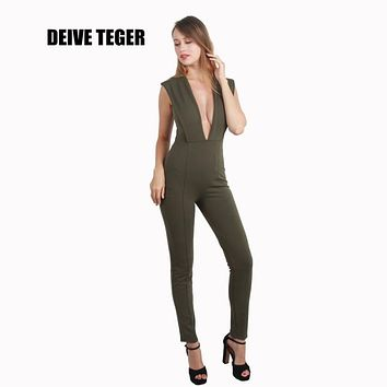 DEIVE TEGER sleeveless backless Free Shipping Hottest Deep V-neck Plunge Bodycon Jumpsuit Women Bodysuit BY001