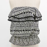 Tribal pattern print gartered ruffled cropped tube top with elastic waist peplum style