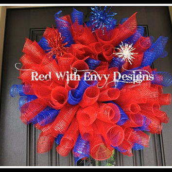 Fourth of July Wreath, Spiral Wreath, 4th of July Wreath, Wreath, Deco Mesh Wreath, Curly Wreath, Patriotic Wreath, RAZ, RAZ Wreath