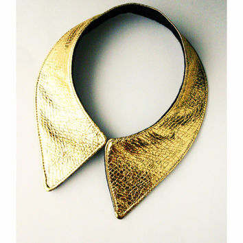 Goldie V Collar Faux Leather Gold Collar Necklace by lovesexton