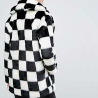 Jakke Mid Length Faux Fur Coat In Checkerboard at asos.com