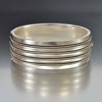 Antique Rope Twist Hinged Silver Bangle Bracelet
