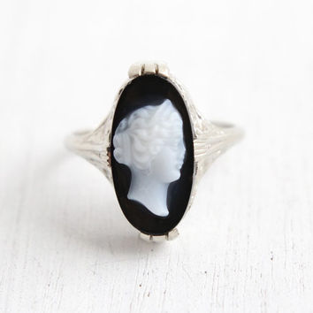 Antique 14k White Gold Black & White Stone Cameo Ring - Size 6 3/4 Art Deco Carved Semi Precious Onyx Fine Jewelry Hallmarked Belais