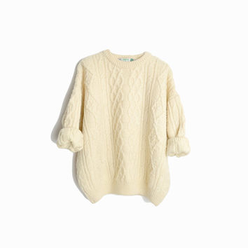 Vintage Cable Knit Wool Fisherman Sweater in Ivory Cream / Irish Fisherman Sweater - women's medium petite