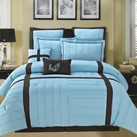 Broadway Blue/ Chocolate Luxury Comforter Set