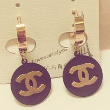 Chanel X YSL small ear button ear ring rose gold temperament ear nail square round English letters simple and versatile earrings