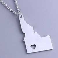 I heart Idaho Necklace - Idaho Pendant - State Charm - Map necklace - Map Jewelry