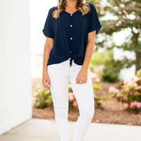 Casual Motivation Top, Navy