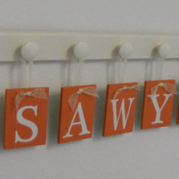 Nautical Sailboat Art Nursery Decor, Baby Name Hanging Wall Letters and 8 Linen White Wooden Peg Hanger  Orange Plaques SAWYER with BOATS
