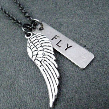 Spread your Wings and FLY! - Inspirational Necklace / Bracelet on Gunmetal Chain - Dare to Dream - Aim High - Graduation - Dream Big - Fly