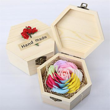 Handmade Romantic Rose Eternal Soap Flower Wooden Box Wedding/Home decoration Artificial Flower Mother's Day Valentine's Gift