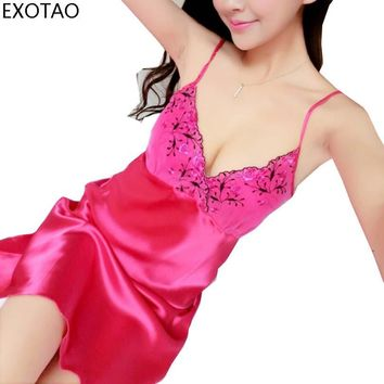 EXOTAO Low-Cut Embroidery Sling Sweet Sexy Sleepwear Lace Stitching Colors Women Nightgown Female Summer Temptation Night Dress