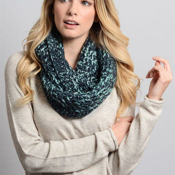 Multi Color Chunky Knit Infinity Scarf-Blue