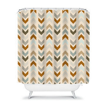 Chevron Shower Curtain Monogram Arrow Earth Tones Beige Tan Bathroom Bath Polyester Made in the USA