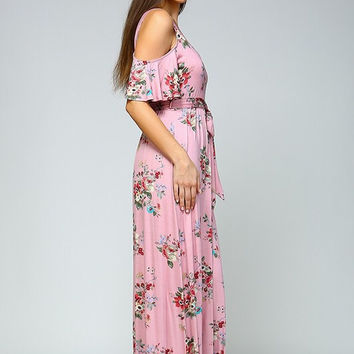 Boho Cold Shoulder Maxi Dress - Pink